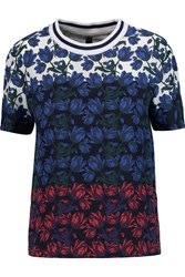 Mother Of Pearl Paget Silk And Cotton Paneled T Shirt Blue
