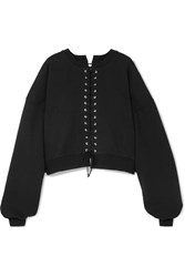 Unravel Project Cropped Lace Up Cotton Terry Sweatshirt Black