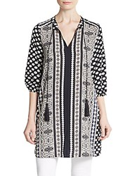 West Kei Printed Tunic Top Black White