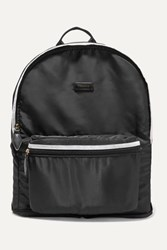 Paravel Fold Up Leather And Grosgrain Trimmed Shell Backpack Black
