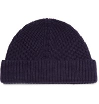 Lanvin Ribbed Cashmere Beanie Navy