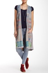 Biya Open Front Long Sweater Vest Gray