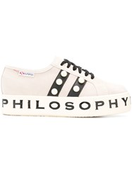 Philosophy Di Lorenzo Serafini Pearl Embellished Sneakers Nude And Neutrals