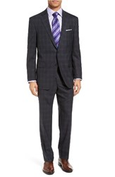 Peter Millar Men's Big And Tall Classic Fit Plaid Wool Suit Charcoal