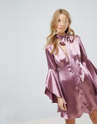 Honey Punch Long Sleeve Tea Dress With Button Front And Neck Tie In Premium Satin Plum Satin Purple