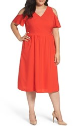 Sejour Plus Size Women's Cold Shoulder Midi Dress Red Fiery