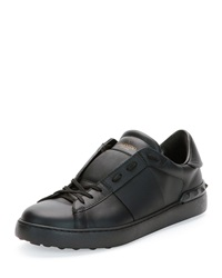 Valentino Low Top Sneaker With Tonal Stripe Black