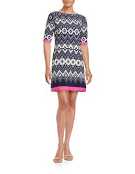 Eliza J Plus Geometric Contrast Shift Dress Pink