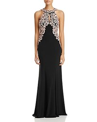 Aqua Embroidered Lace Gown Black Rose