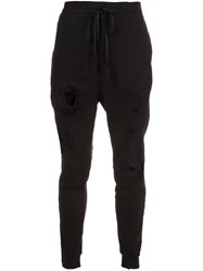 Unravel Distressed Track Pants Black