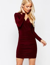 Ax Paris Long Sleeve Wrap Pencil Dress Wine Red