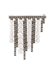 Oscar De La Renta Pearl And Baguette Brooch Grey
