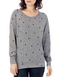Alternative Apparel Slouchy Tree Print Raglan Pullover Eco Grey Tree Dot