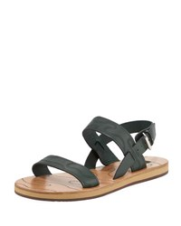 Valentino Men's Camouflage Leather Buckle Strap Sandal Green