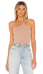 Lna One Shoulder Ribbed Cami In Tan. Nude
