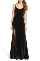 La Femme Women's Backless Velvet Gown