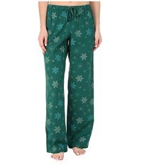 Life Is Good Sleep Pant Hunter Green Printed Snowflake Women's Pajama