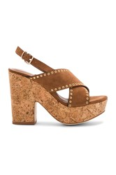 Lola Cruz Cross Front Platform Brown