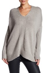 Love Stitch Knit V Neck Sweater Gray