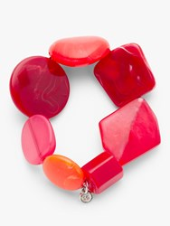 One Button Asymmetric Bead Stretch Bracelet Crimson