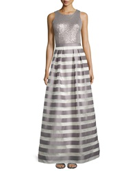 Kay Unger New York Sequined Bodice Striped Sleeveless Gown Silver