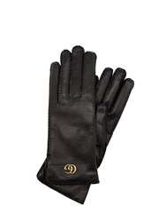 Gucci Gg Maya Embossed Leather Gloves Black