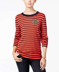 Tommy Hilfiger Whimsy Long Sleeve Crewneck Poinsettia Print