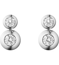 Georg Jensen Aurora 18Ct White Gold And Diamond Drop Earrings