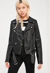 Missguided Tall Black Faux Leather Biker Jacket