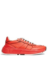 Bottega Veneta Exaggerated Sole Leather Low Top Trainers Red