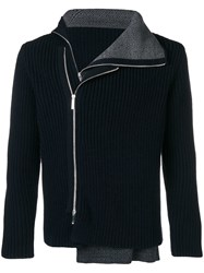 Emporio Armani Side Zipped Cardigan Blue