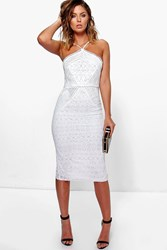 Boohoo Strappy Lace Panelled Midi Bodycon Dress Ivory