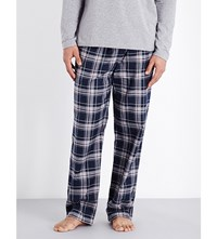 Hugo Boss Cosy Cotton Flannel Pyjama Bottoms Navy Check