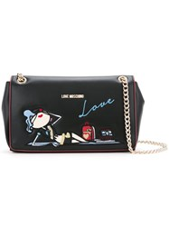 Love Moschino Doll Embroidery Shoulder Bag Women Polyurethane One Size Black