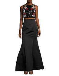 Betsy And Adam Two Piece Sequined Halter Skirt Set Black Multi