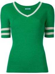Guild Prime Banded Half Sleeve Sweater Women Cotton Nylon Rayon 36 Green