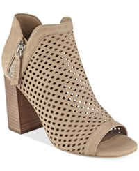 Guess Women's Oana Perforated Peep Toe Booties Women's Shoes Taupe