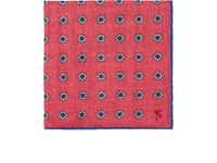 Isaia Floral Linen Pocket Square Red