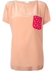 Red Valentino Polka Dot Chest Pocket Top Pink And Purple
