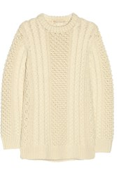 Michael Kors Collection Cable Knit Merino Wool Sweater Ecru