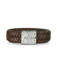 Just Cavalli Rude Stainless Steel And Leather Men's Bracelet