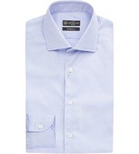 Corneliani Slim Fit Single Cuff Cotton Shirt Sky Blue