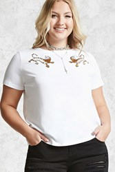 Forever 21 Plus Size Tiger Patch Tee White Gold