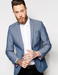 Noose And Monkey Prince Of Wales Check Colour Block Blazer In Skinny Fit Denimblue