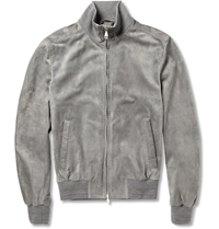 Brioni Suede Bomber Jacket Gray