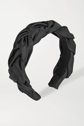 Jennifer Behr Lorelei Braided Silk Faille Headband Black