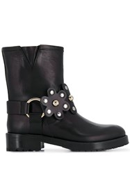 Red Valentino Floral Buckled Boots Black
