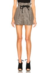 3.1 Phillip Lim Origami Pleat Shorts In Brown Checkered And Plaid Brown Checkered And Plaid