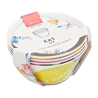 Joules Hollyhock Meadow Garden Bowls Set Of 4 Yellow Floral