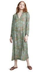 Raquel Allegra Tapestry Silk Ruffle Dress Green Tapestry